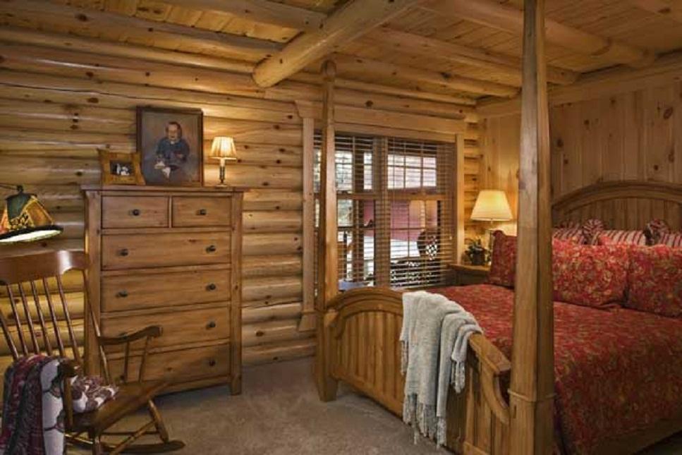 beautiful log cabin bedroom design ideas