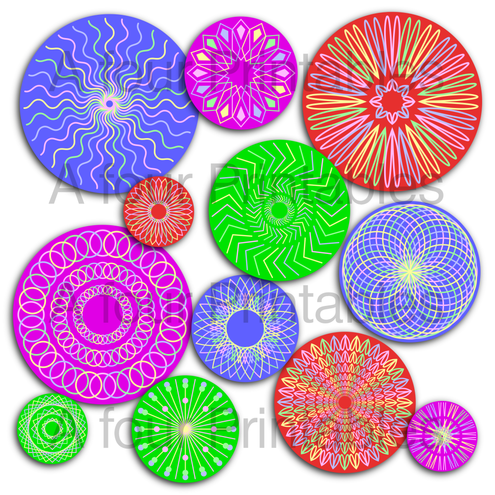 Geometric linear mandala digital circles printable collage sheet from A four Printables.