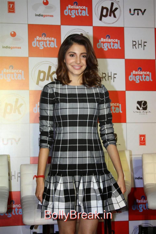 Anushka Sharma Photos, Anushka Sharma Hot Pics In check dress from PK Mobile Game Launch