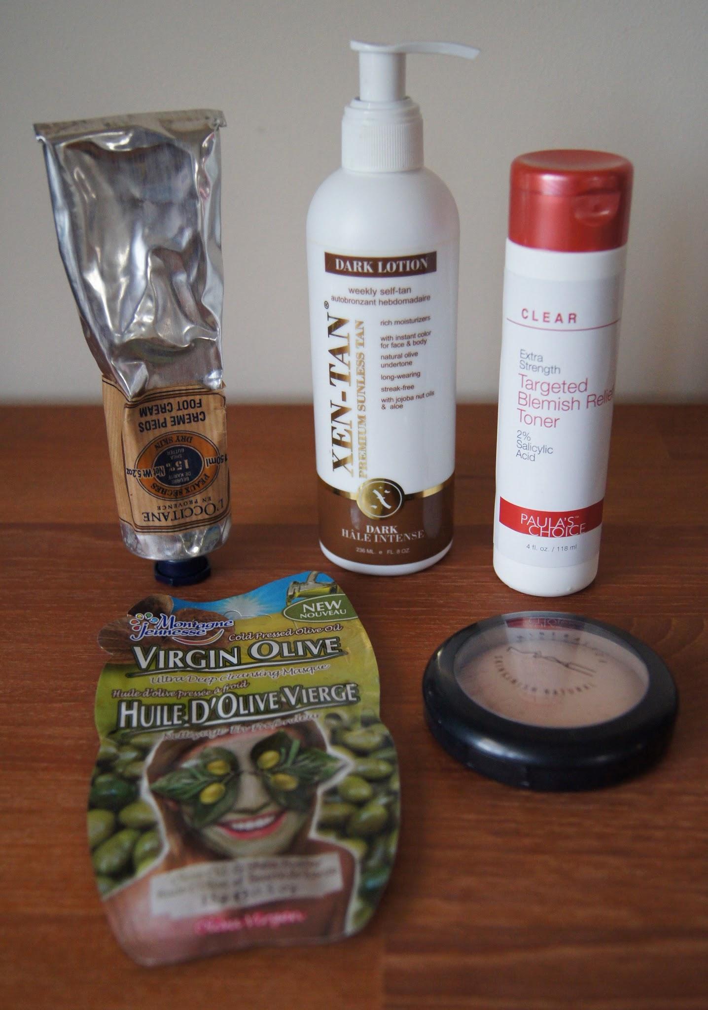 current beauty favourites foot cream self tan mac powder face mask acne treatment