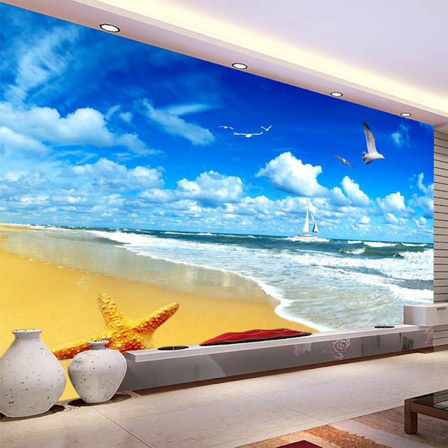 Beach Ocean Wall Murals 3D Landscape Tropical Wallpaper Bedroom Livingroom
