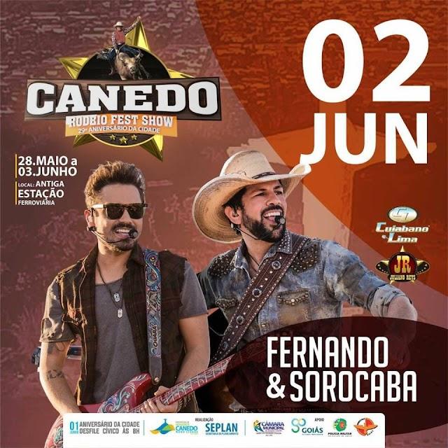Canedo Rodeio Fest Show: A atração do dia 02  fica por conta da dupla Fernando e Sorocaba