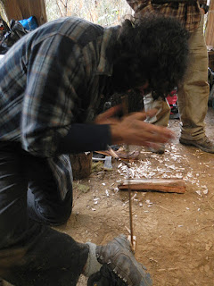hand drill fire making method at Alderleaf Wilderness College