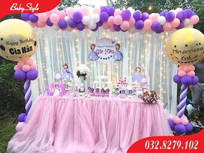 Trang trí sinh nhật chủ đề công chúa Sophia