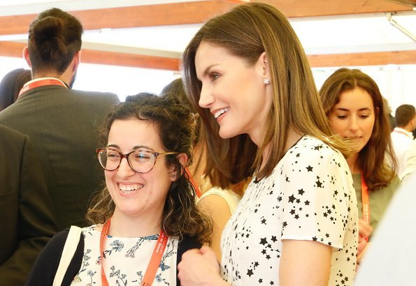 Queen Letizia wore Massimo Dutti Silk Shirt Star Print, she carried Uterque bag for Girona Foundation's meeting at Malavella Hotel Camira in Girona