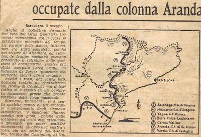 Mapa de la situación de la guerra civil española en 1938
