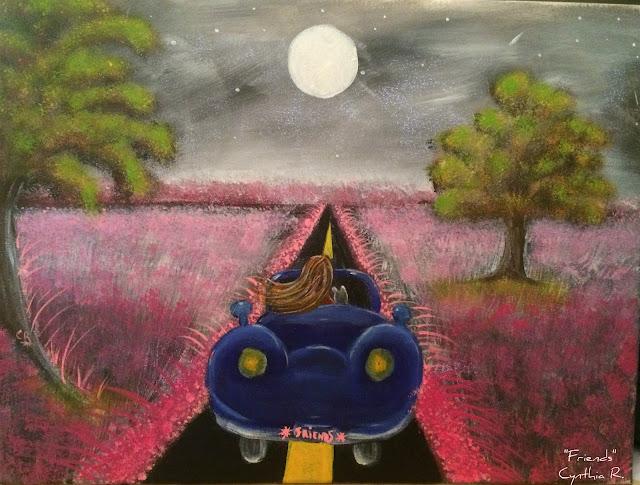 Pintura acrílica en canvas, acrylic painting on canvas, muchacha y el gato en carro azul, paisaje nocturno, pintura acrílica flores rosadas, manejando carro azul, carro azul.
