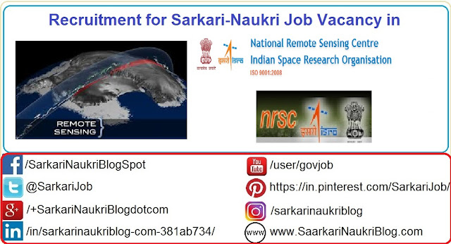 Naukri Vacancy Recruitment in ISRO NRSC