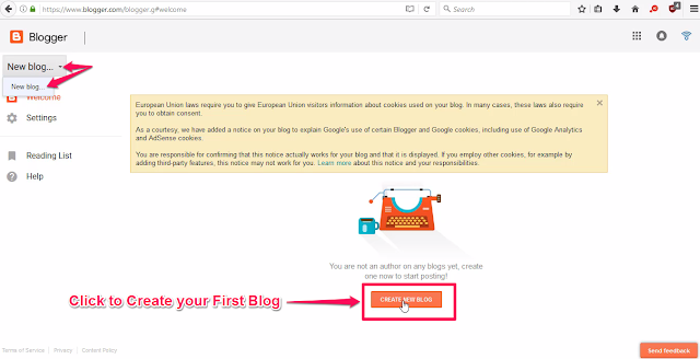 """Click on """"Create New Blog"""""""