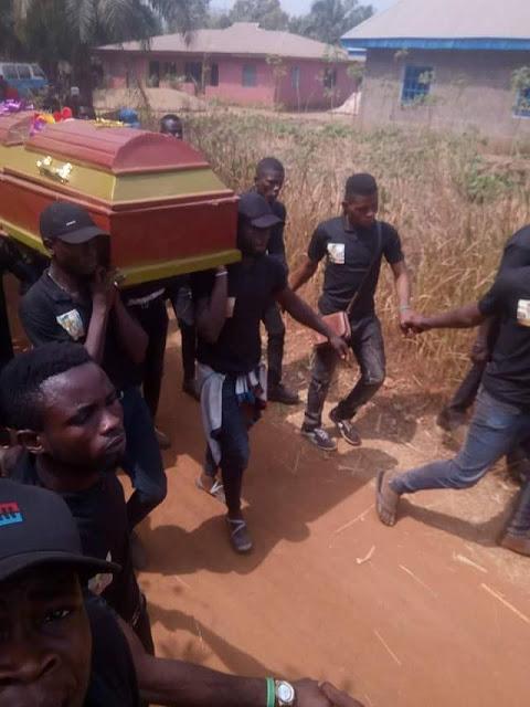 Photos: Heartbroken girlfriend kneels before coffin of her Ebonyi State University student boyfriend to pay her last respect