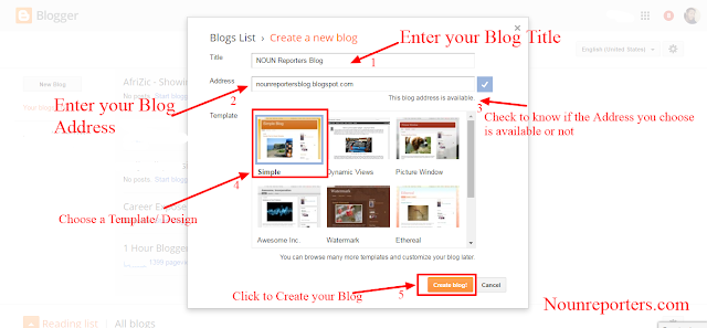 Steps to create a new blog