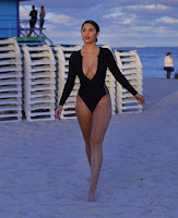 Tao Wickrath in Black Swimsuit in Miami