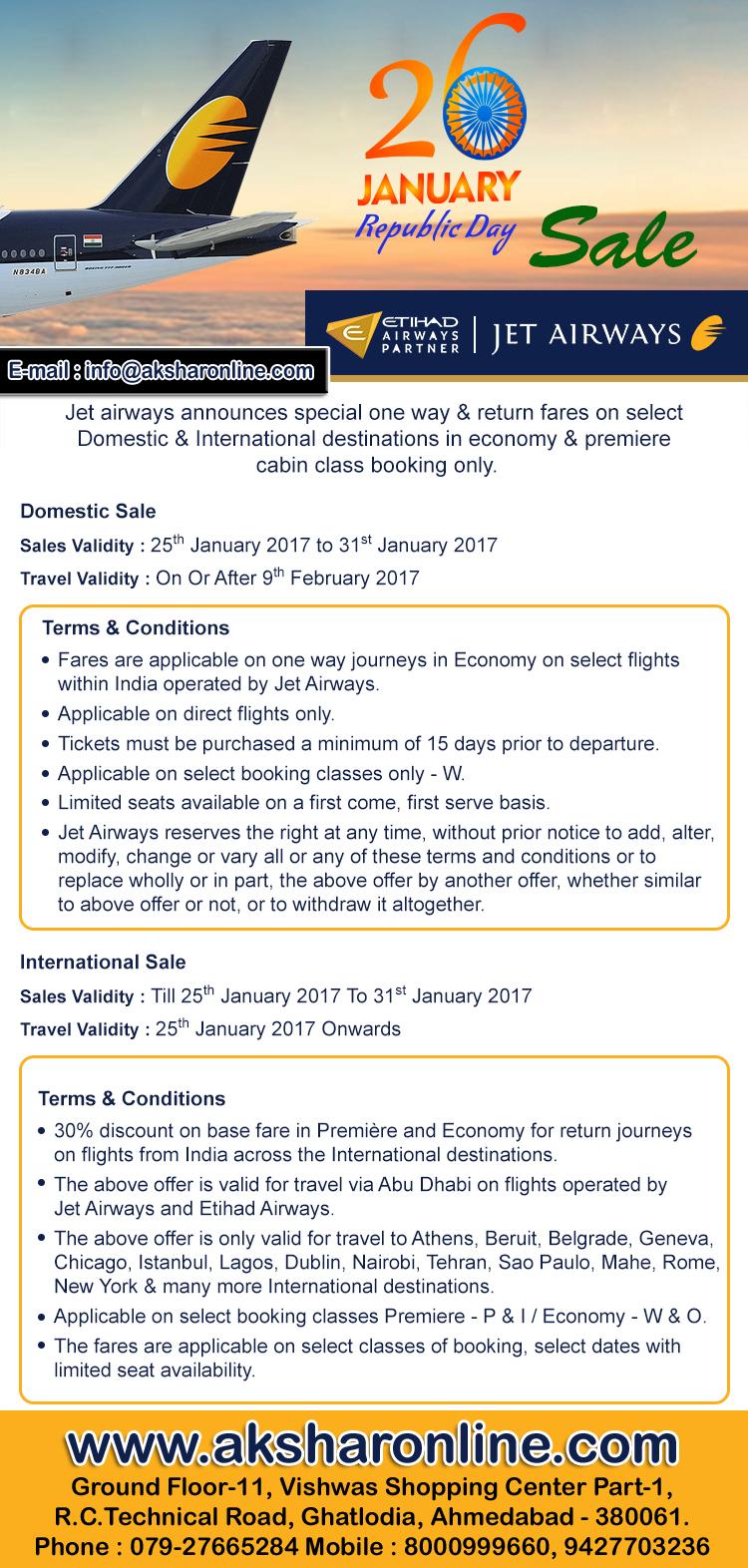 www.aksharonline.com, akshar infocom, jetairways sale, domestic sale, air ticket booking, tour agent, air ticket agent in ghatlodia