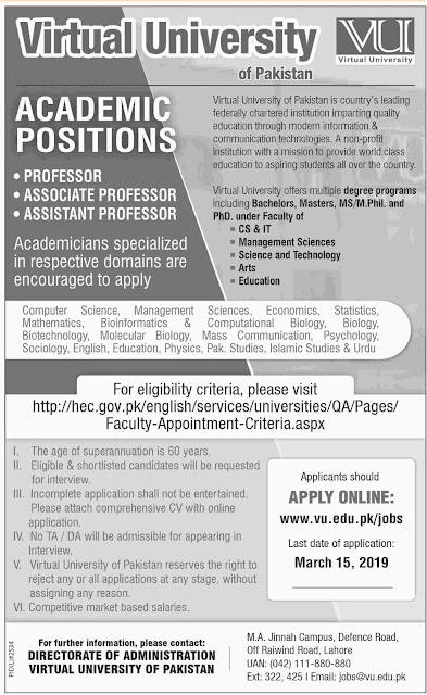 Virtual University Of Pakistan Jobs 2019 for for Teaching Faculty | Latest Advertisement