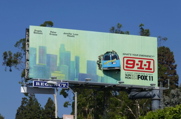 911 crashed tour bus billboard installation