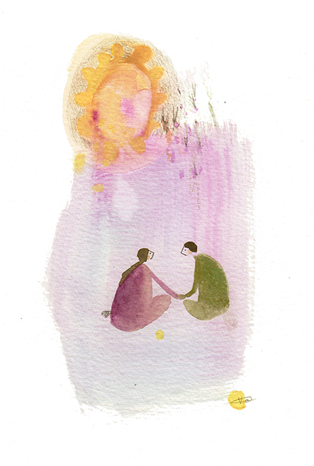 lovers illustration, whimsical sun art by Vicky Alvarez