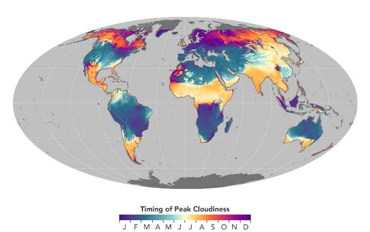 timing of peak cloudiness