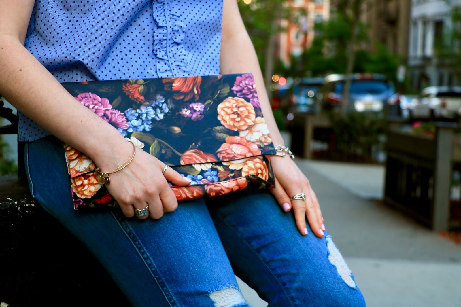 Nyc fashion blogger Kathleen Harper's Anthropologie floral clutch