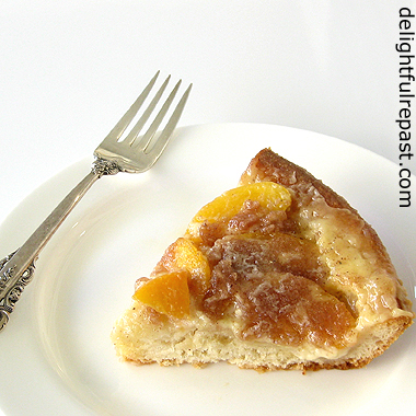 Peach Coffee Cake - Peach Kuchen (Pfirsich Kaffeekuchen, to be precise) - made with a rich yeast dough / www.delightfulrepast.com