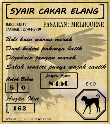 Syair MELBOURNE,27-04-2019