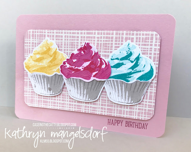 Stampin' Up! Sweet Cupcake & Cupcake Cutout Framelits Die, Birthday Card created by Kathryn Mangelsdorf
