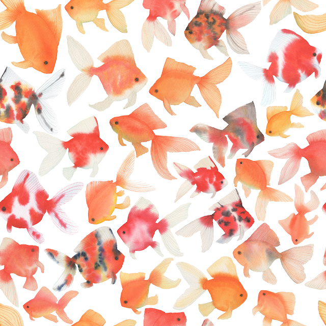 watercolor goldfish, fabric design, Summer Bliss, My Giant Strawberry