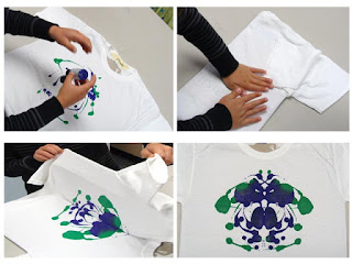 kids projects for rainy or wintery days - decorate tshirts with ink blot design