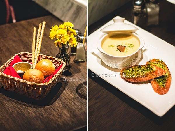Left: Complimentary Bread & Butter basket | Right: Forest Mushrooms Soup - portobello, porcini, button, black truffle