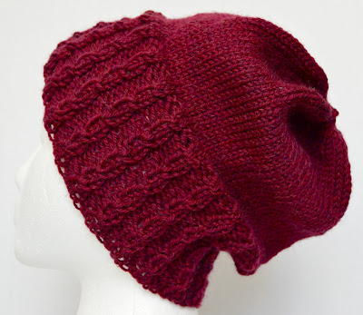 Cabled slouch hat  at https://www.etsy.com/shop/JeannieGrayKnits