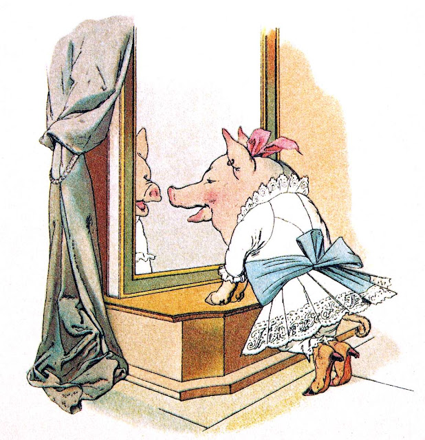 Fedor Flinzer children's book, pig at mirror