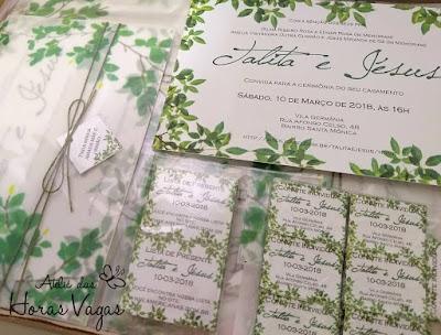 convite de casamento artesanal personalizado tropical estampa folhagem folhas verde papelaria personalizada identidade visua tags lista de presente