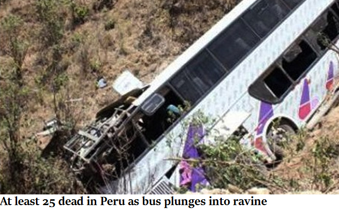 At least 25 dead in Peru as bus plunges into ravine