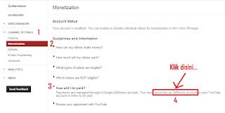 menghubungkan akun youtube dengan adsense