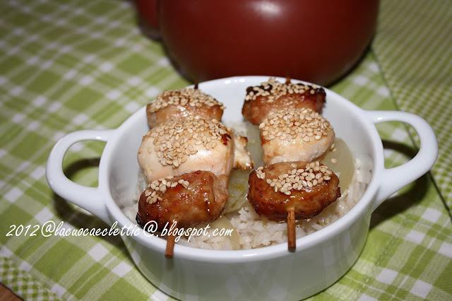 Spiedini di pollo e tacchino con riso basmati