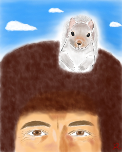 Bob Ross with his squirrel