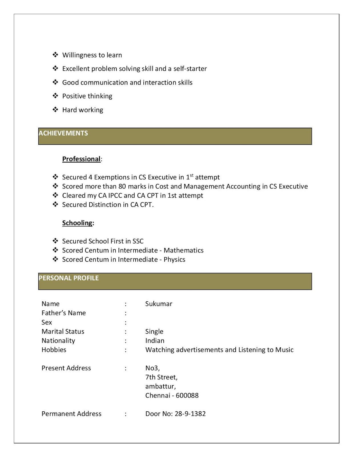 Experienced Articleship Resume Format Download in MS-Word - Resume ...