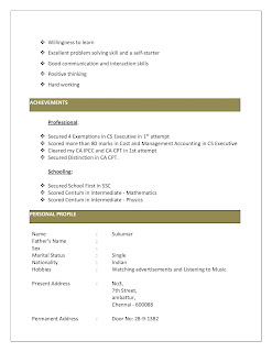 Experienced Articleship Resume 3