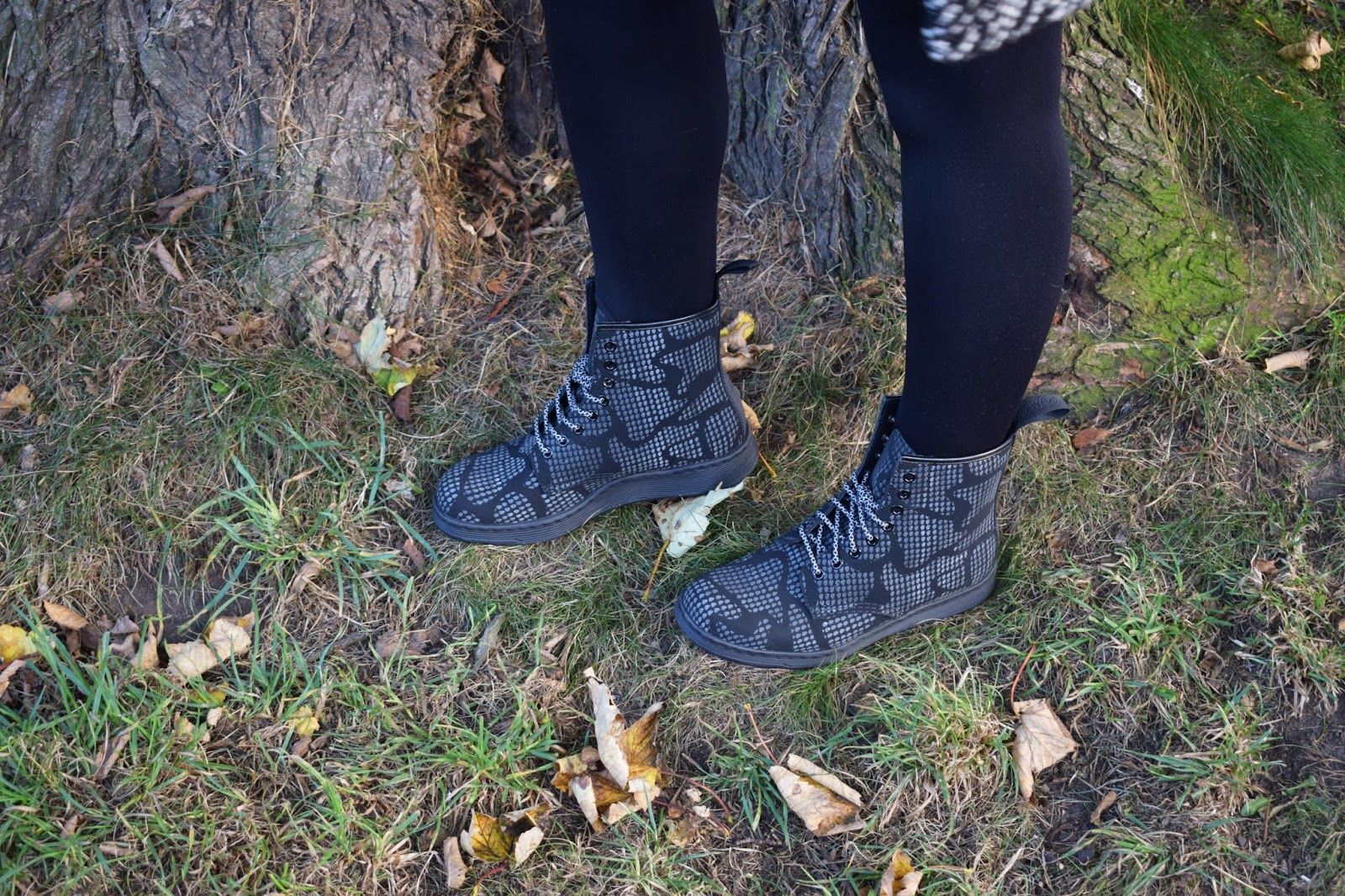 Dr Martens Newton reflective boots, Scottish winter style, Halloween collection, denim pinafore trend, Scottish style blogger, UK fashion trends, Dr Martens style blogger, dressing for cold weather in Scotland,