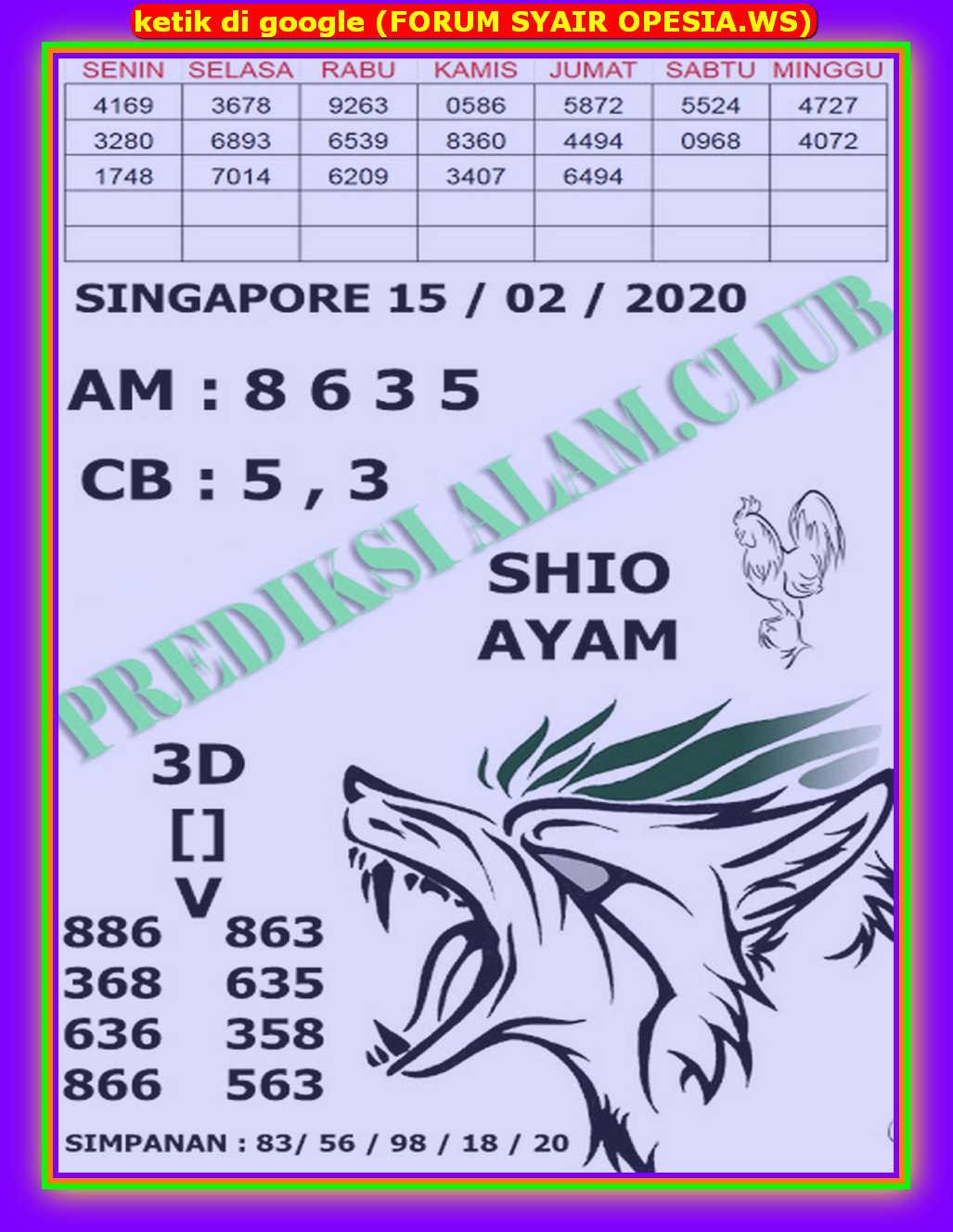 Kode syair Singapore Sabtu 15 Februari 2020 110