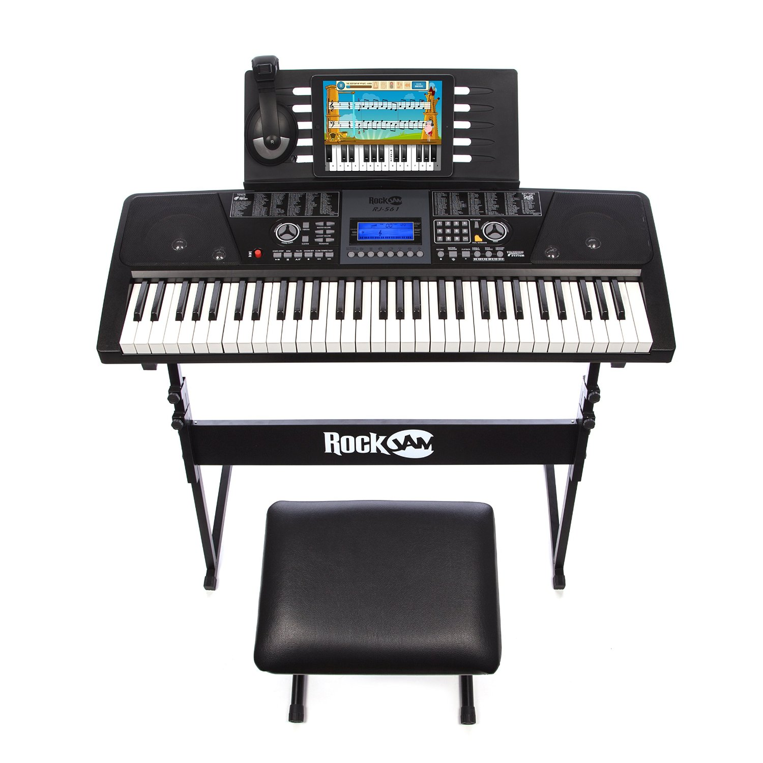 60a49e98e04 RockJam 561 Electronic 61 Key Digital Piano Keyboard SuperKit with Stand,  Stool, Headphones, & Includes Piano Maestro Teaching App with 30 Songs