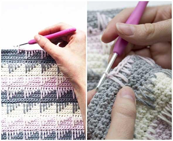 punto de crochet a puntadas en pico efecto triangular
