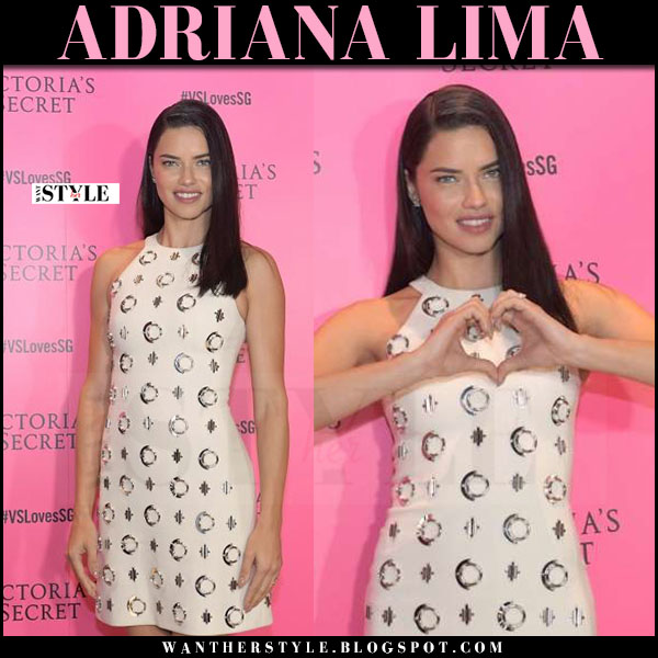 Adriana Lima in white metal circle dress david koma what she wore march 2017