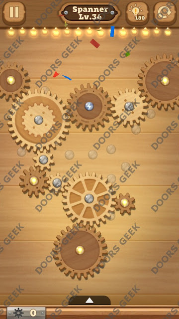 Fix it: Gear Puzzle [Spanner] Level 34 Solution, Cheats, Walkthrough for Android, iPhone, iPad and iPod