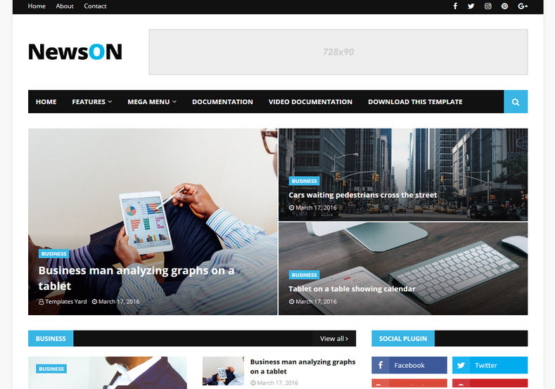 NewsOn Magazine Blogger Template free download theme blogspot