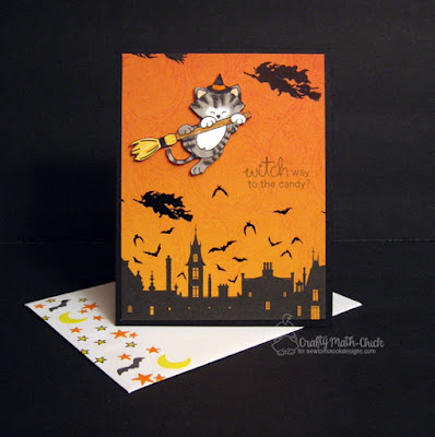 Kitty Witch on Broomstick Halloween Card by Crafty Math Chick | Newton's Boo-tiful Night stamp set by Newton's Nook Designs