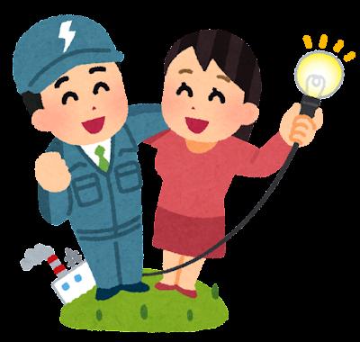 電気会社と女性