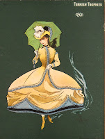 An illustration of a woman in wide skirts with a parasol.