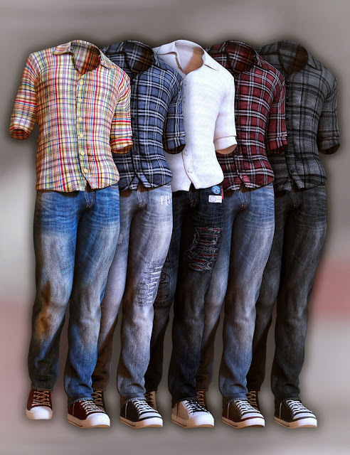 Jeans and Button Up Outfit for Genesis 3 Male
