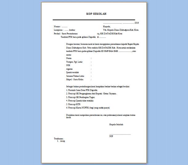 Format Surat Permohonan Tambah PTK Baru Aplikasi Dapodik