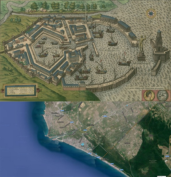 Old Cities Ostia Italy Map Then 1588 And Now 2015